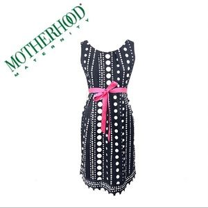 Motherhood Maternity Pleated Neck Polka Dot Dress